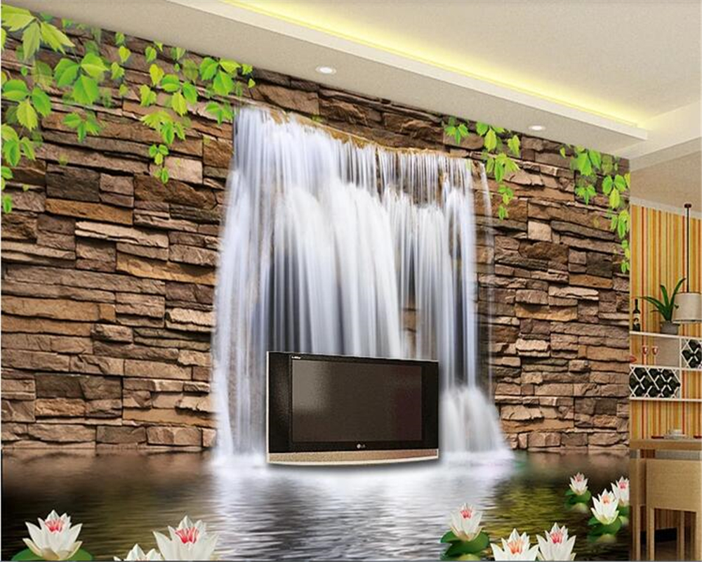 beibehang Home interior papel de parede 3d Vinyl wall landscape waterfall romantic 3d wall mural tv background wallpaper behang