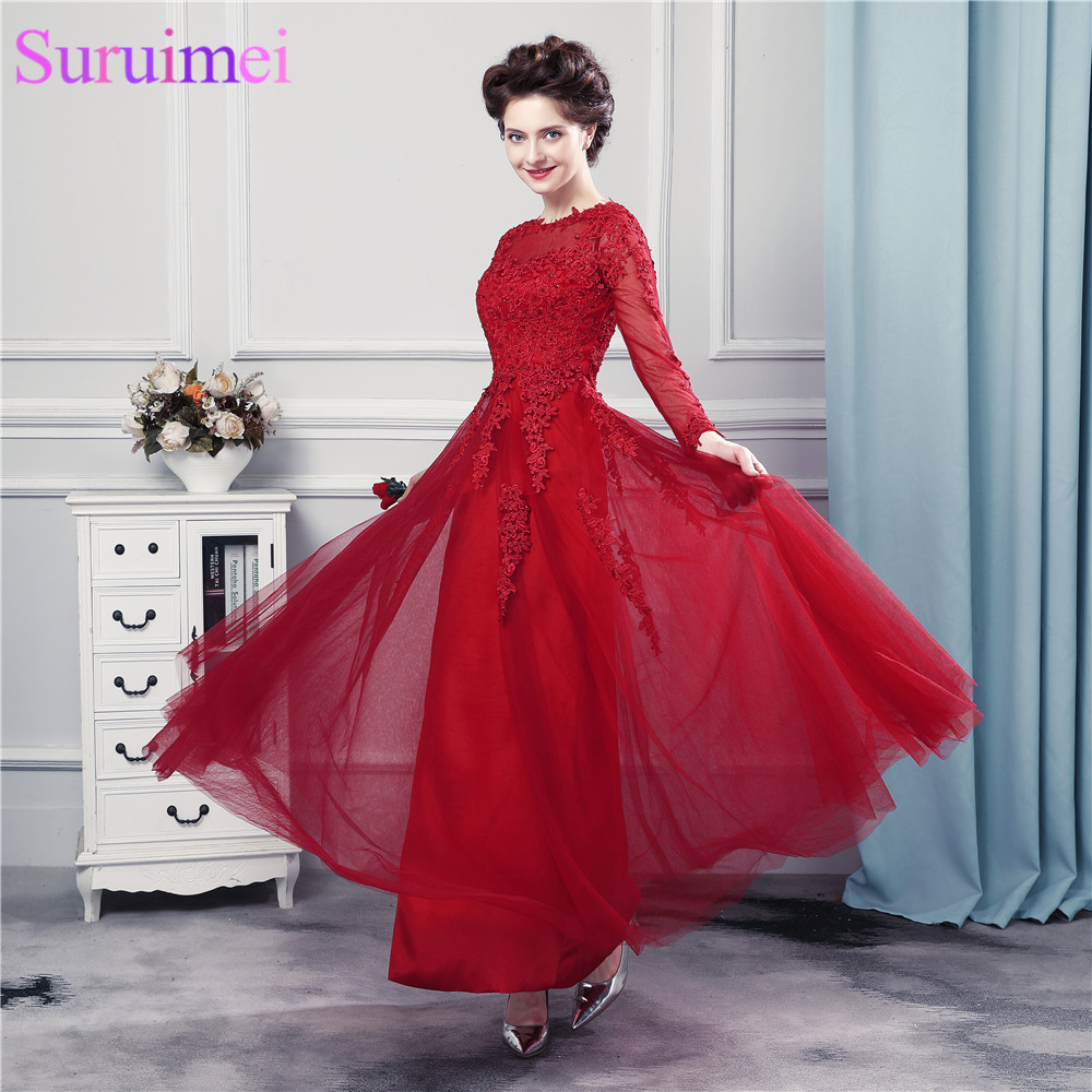 Free Shipping Ankle Length Prom Dresses With Long Sleeves Dark Red High Quality Tulle Lace Applique Corset Key Hole Prom Gown