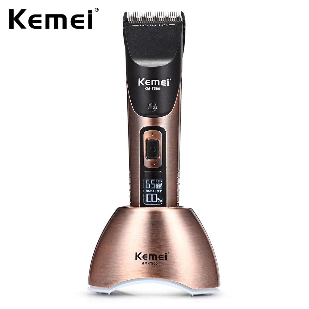 Kemei-7500 professionnel tondeuse à cheveux tondeuse Rechargeable tondeuse à barbe 10 vitesses pour hommes électrique coupe cheveux outil de coupe