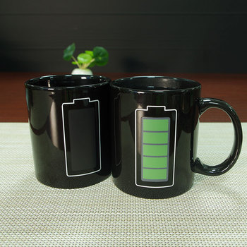 Creative Battery Magic Mug Positive Energy Color Changing Cup Ceramic Discoloration Coffee Tea Milk Mugs Novelty Gifts