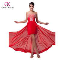 Sexy Red Carpet Women High Low Prom Dresses Long Beaded Red Evening Gown Party Banquet Dresses