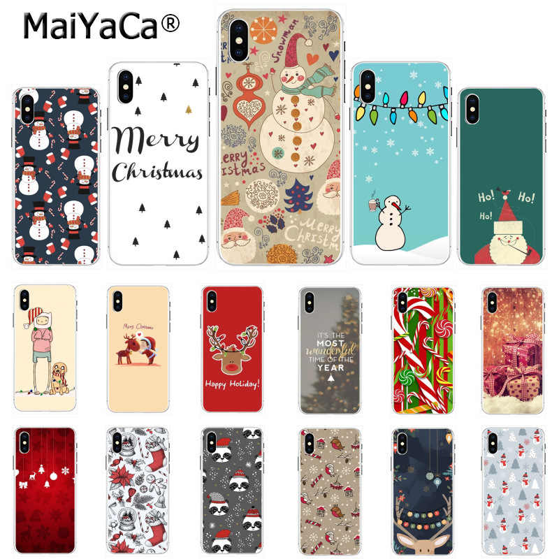 MaiYaCa Unique phone case happy New Year merry Christmas Printing Drawing for iPhone 8 7 6 6S Plus X 5 5S SE 44S XS XR XS