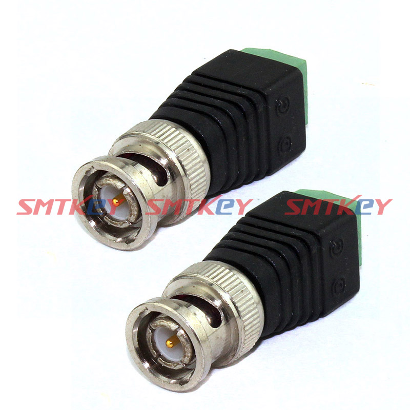 SMTKEY CCTV Accessories 2pcs CAT5 To BNC Coaxial Video Balun DC Connector
