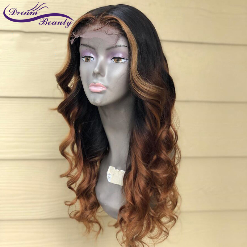 Dream Beauty Body Wave Ombre Color 130% Density Front 13X6 Lace Wig Remy Hair Brazilian Human Hair Wigs With Baby Hair
