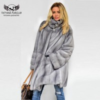 Tatyana Furclub Real Fur Mink Coat With Gray 90 Cm Long Mink Fur Coats Luxury Genuine Leather Fashion Fur Outwear Russia Fashion