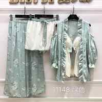 sexy satin silk pajamas summer new 4 piece set robe nightgown robe+long trousers+short trousers pijiamas set sleepwear
