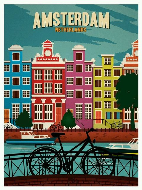 Amsterdam holland wine tourism amazing print poster 5070cm