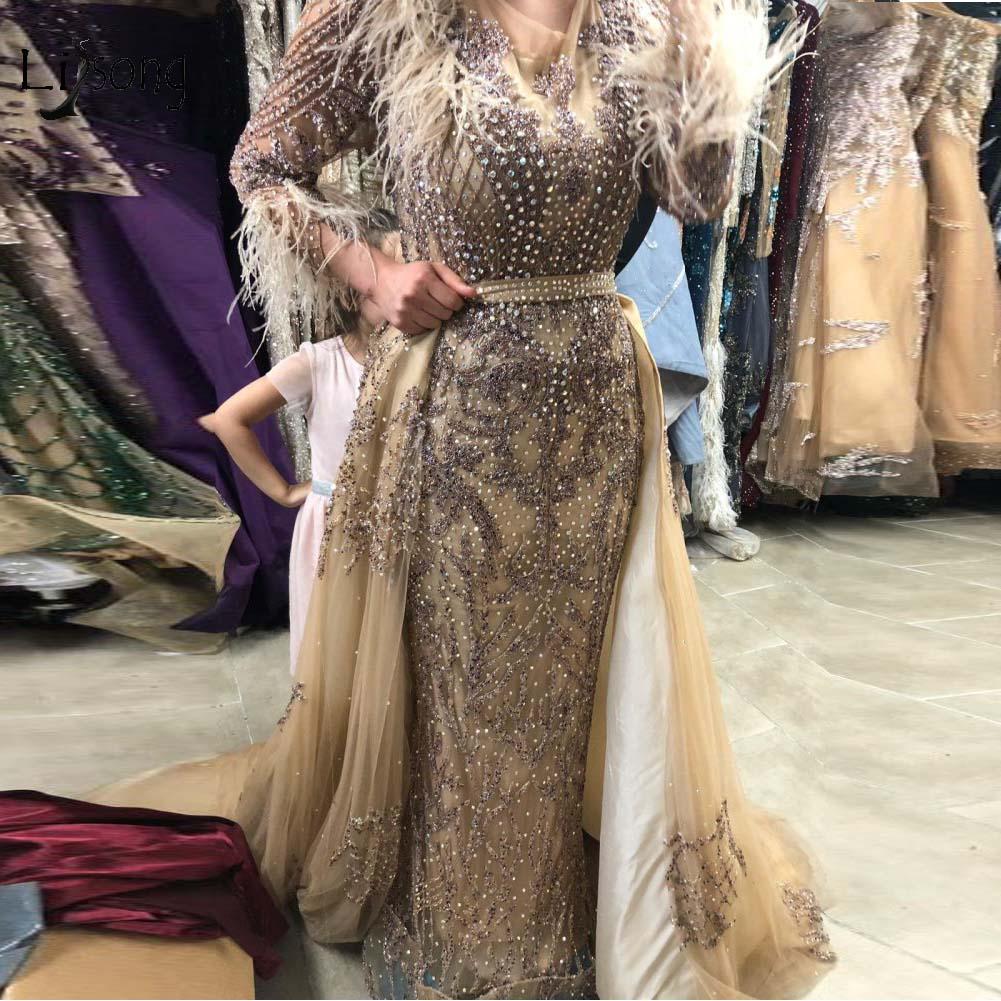 Luxe Dubai or perlé sirène robes De soirée 2019 détachable Train cristal dentelle plume longues robes De bal robes De Festa