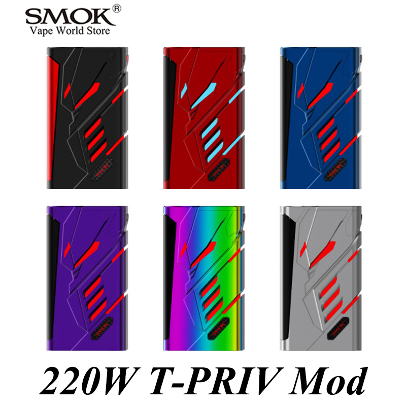 SMOK T-PRIV 220W TC Mod Electronic Cigarette E Hookah Vape E Cigarette Mech Box Mod Buy the Mod Get 2 18650 Battery As Gift S105 fruit mango flavor e liquid for e cigarette by hangsen