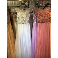 2016 Robe De Soiree Sweet Cheap Beading 3D Lace Pearl Flower Long Evening Dresses With Bow