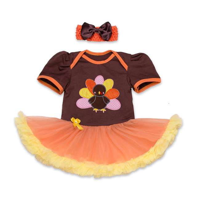 bfb687631b46 Cute Turkey Newborn Baby Girl Thanksgiving Outfit Baby Lace Romper Tutu  Dress Body Bebe Overall Children Clothes Infant Kid Suit