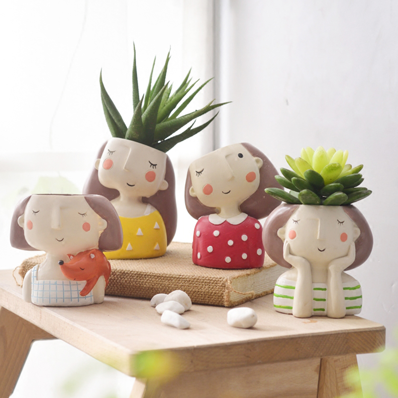 La muchacha de flor plantador de 4 piezas estilo europeo plantas suculentas maceta Mini Bonsai Cactus maceta decoración del hogar artesanía