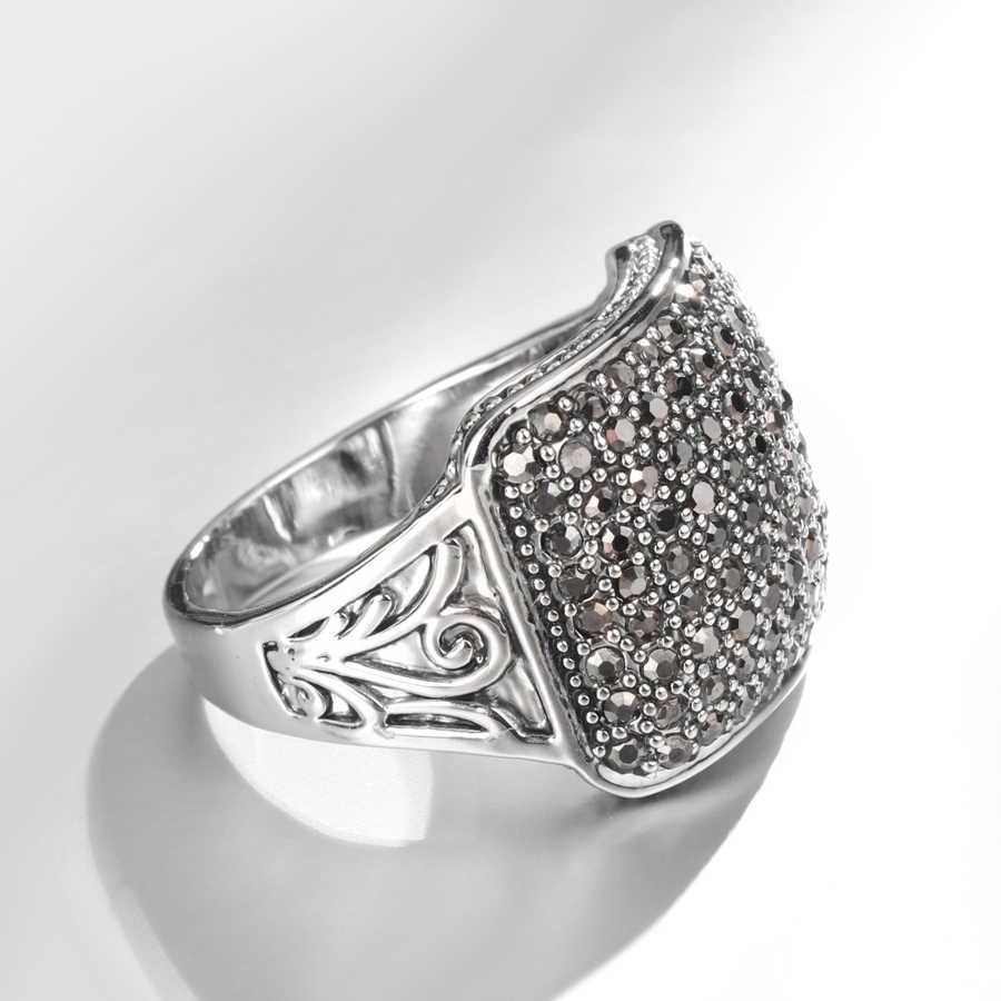 ヴィンテージブラッククリスタル結婚指輪スクエアシルバー色パンクリングファッションブルガリアジュエリー女性のアクセサリー 2018 送料無料