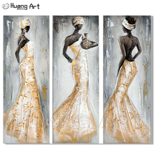 3 Panel Canvas Painting Handpainted Abstract Figure Oil Paintings Modern Home Decor Wall Art Gold Orange African Women Pictures