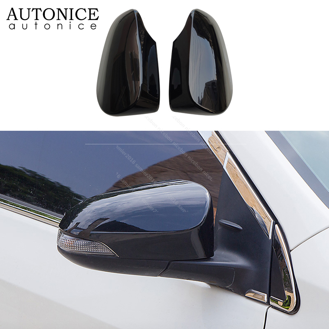 2pc shiny black Rearview <font><b>Mirrors</b></font> Cover Cup fit for <font><b>toyota</b></font> Avalon Venza corolla C-HR CHR <font><b>Auris</b></font> Yaris image