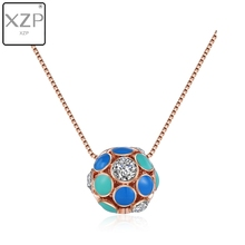 XZP Rose Gold Plate Necklace with Austrian Crystal Paved Necklace Fashion Jewelry For Women Colorful Enamel Ball Pendant Gifts azora my fox lady rose gold color austrian rhinestone paved fox pendant necklace and earring set tg0074