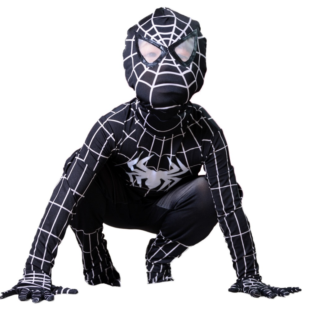evil black spiderman costume kids Halloween costumes for kids Children superHero Cosplay Spandex zentai Full bodysuit Custom
