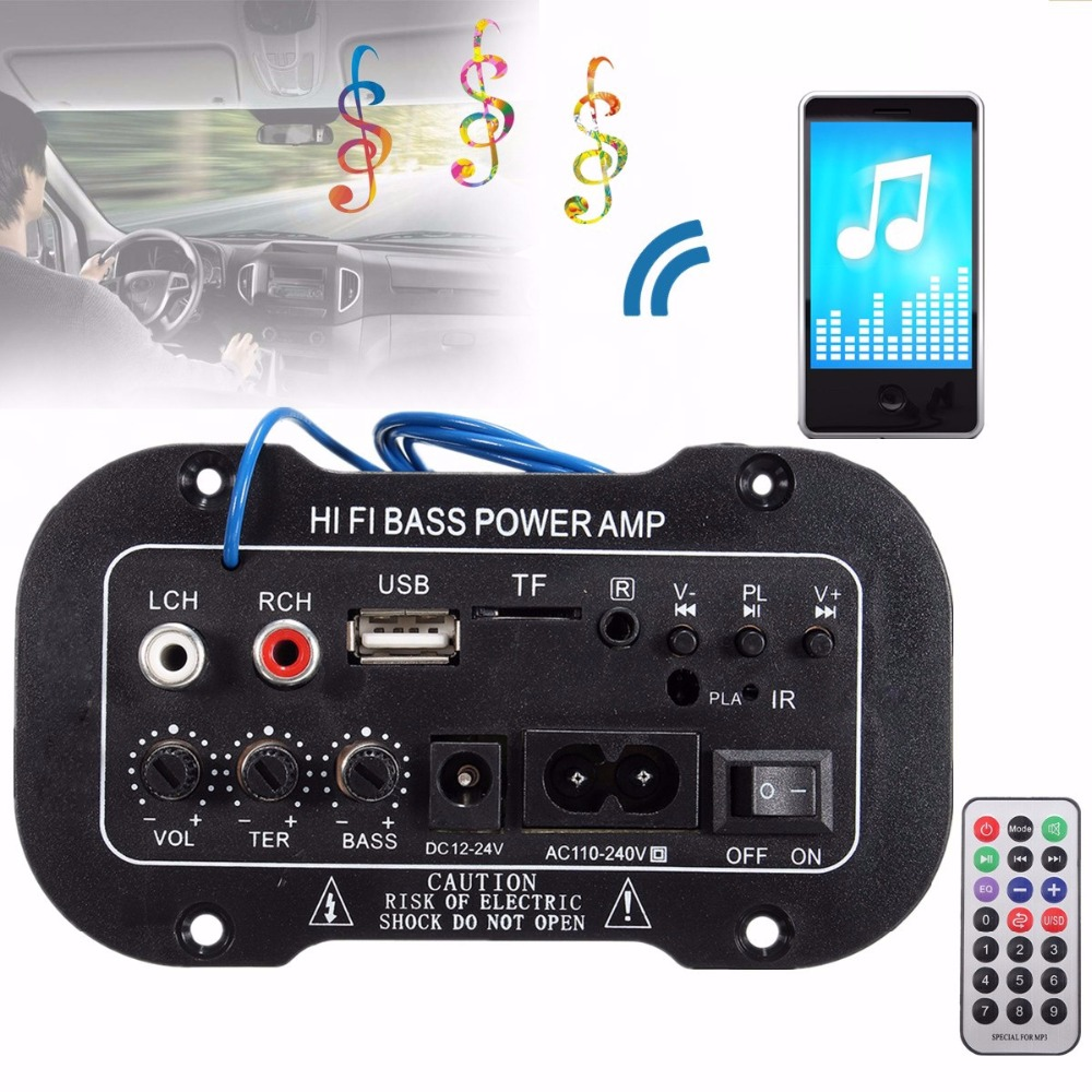 New Car Bluetooth HiFi Bass Power AMP Digital Auto Amplifier Stereo USB TF Radio Audio MP3 music with Remote 220V hifi 2 1 channel edr bluetooth car amplifier subwoofer usb u disk auto stereo audio amplifier with remote control power adapter