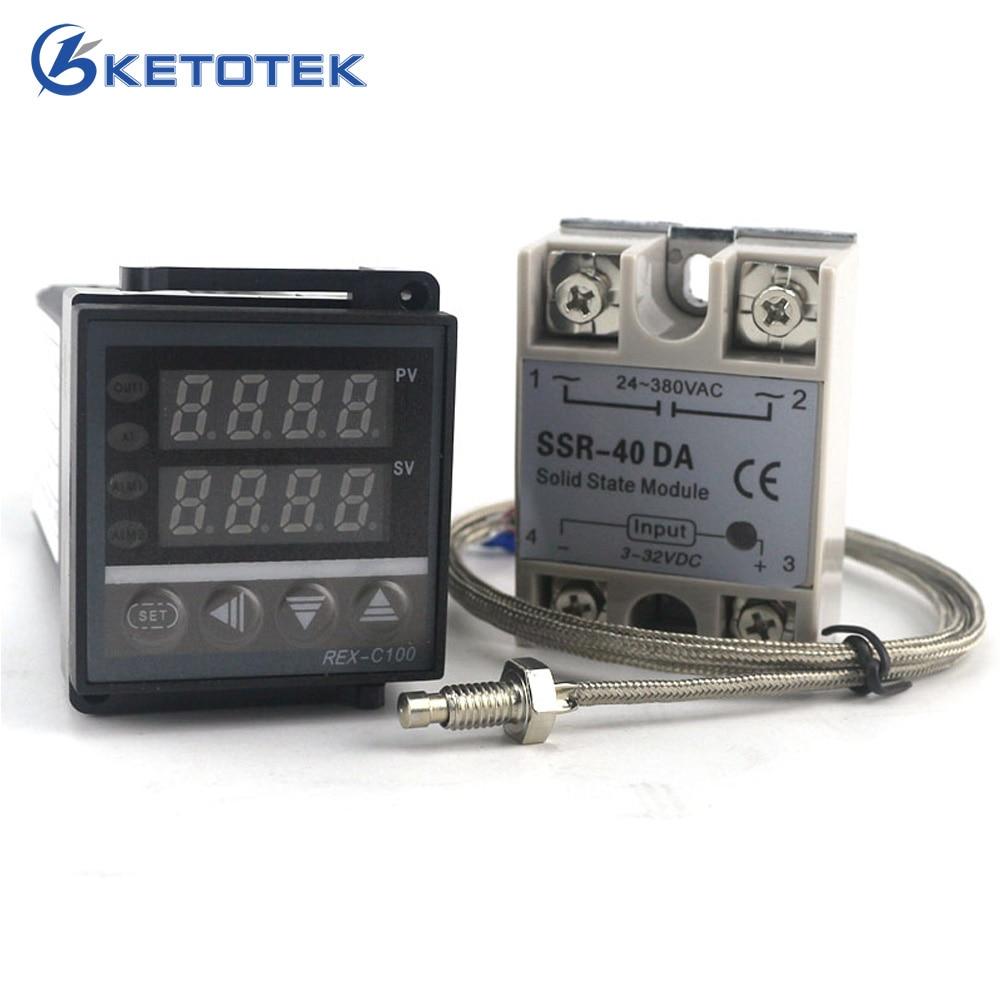 Ketotek Dual Digital PID temperatuuri regulaatori termostaat REX-C100 termopaar K SSR 40A SSR-40DA 110V 220V programmeeritav