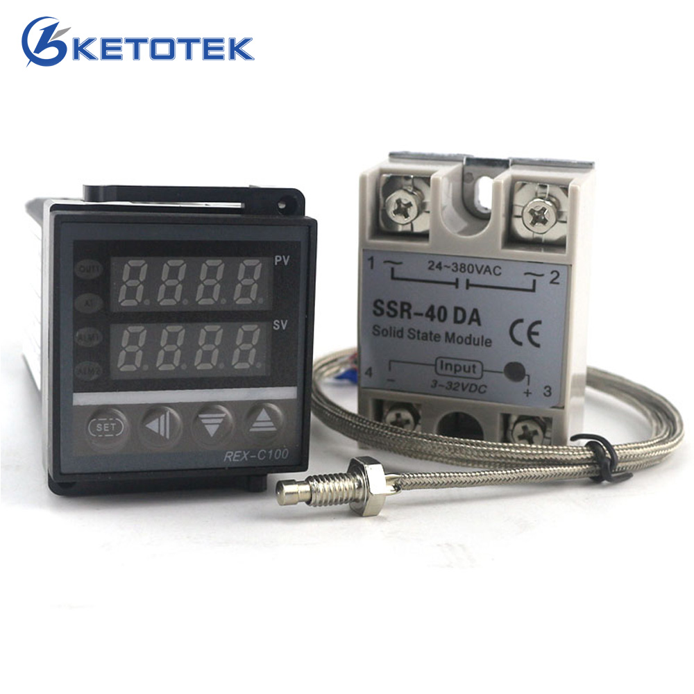 цена Ketoteo Dual Digital PID Temperature Controller Thermostat REX-C100 thermocouple K SSR 40A SSR-40DA 110V 220V Programmable