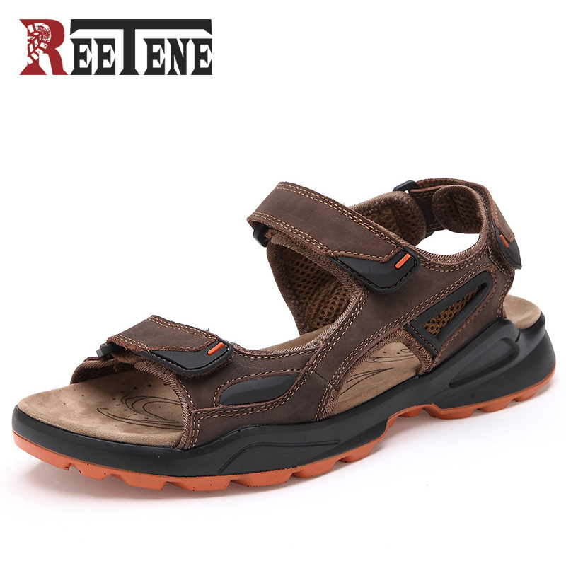 REETENE Fashion Men Beach Sandals High Quality Leather Summer Men Sandals 2017 New Arrival Breathable Casual Shoes Men Sandalias