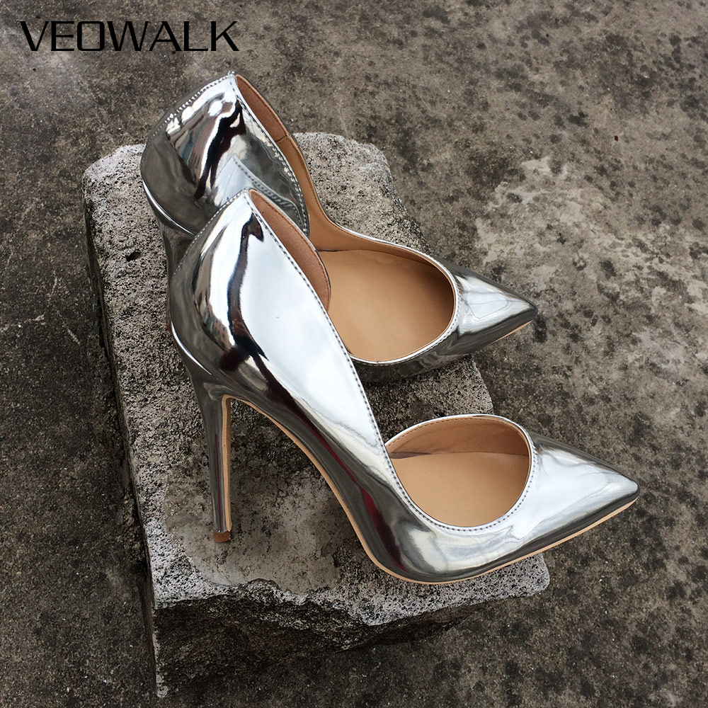 Veowalk Shiny Silver Women D'Orsay High Heels Pointed Toe Sexy Ladies 12/10/8cm Heeled Party Shoes Wedding Bride Bridal Pumps high heels european grand prix 2015 new winter bride wedding high heels nightclub wild pointed high heeled shoes women pumps page 6