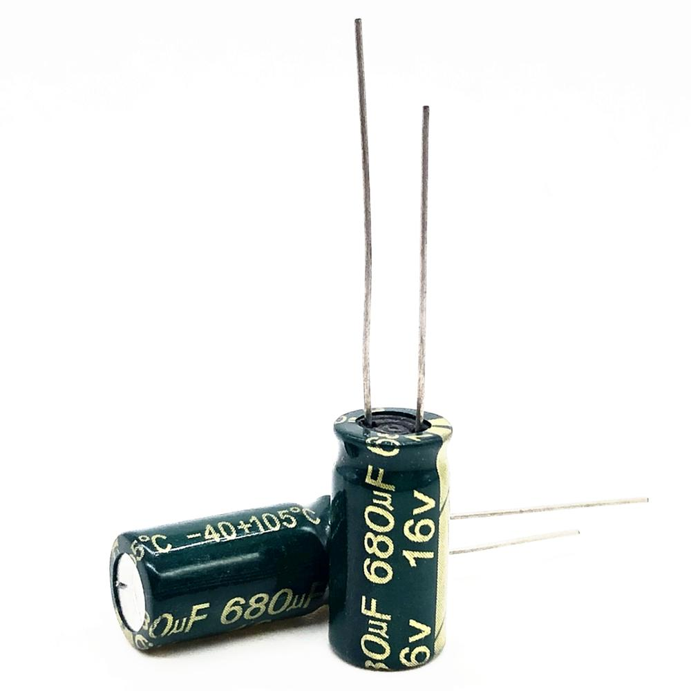30pcs/lot 16V 680UF 8*12mm High Frequency Low Impedance Aluminum Electrolytic Capacitor 680uf 16v