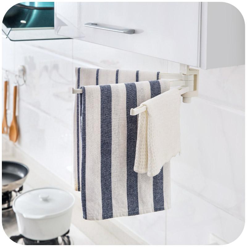 Multifunctional 3 Rod Rotatable Adjustable Towel Rack Towel Holder Bar  Hanger For Kitchen Bathroom Fixed Shelf