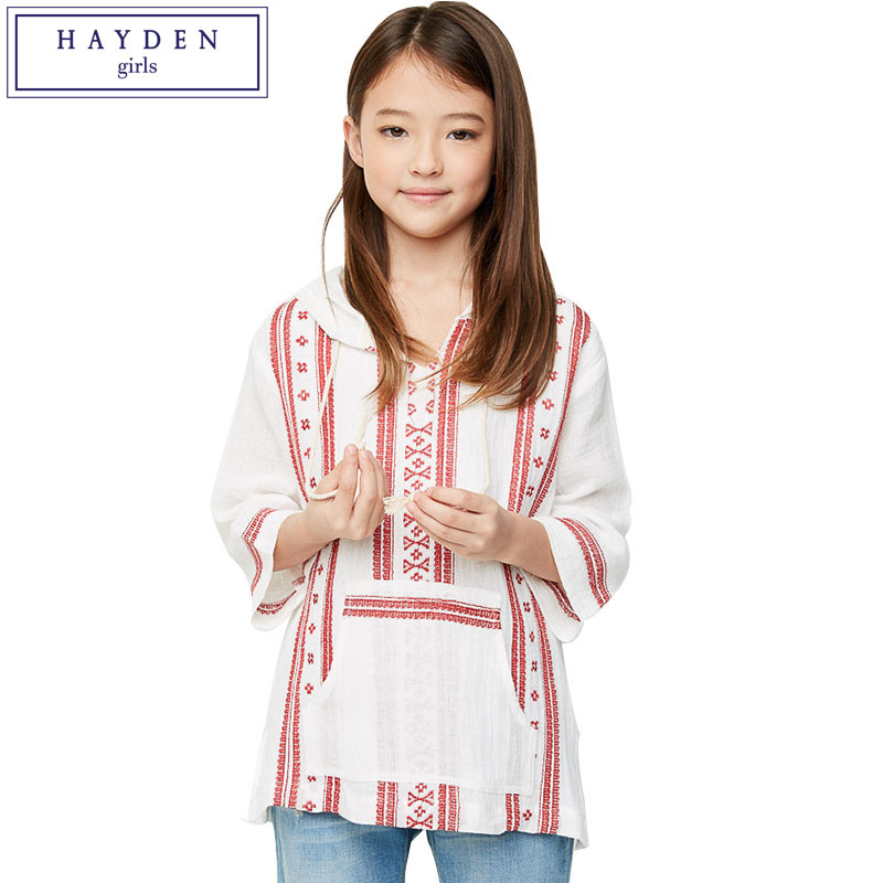 HAYDEN Girls White Hooded Blouse Kids Vintage Floral Print Bohemian Shirt Top Teenager Girl Cotton Clothing for Spring Summer inc black white women s size xl floral print keyhole back seamed blouse $69