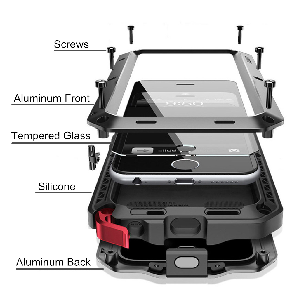 Funda protectora de lujo Armor Life Shock Dropproof a prueba de golpes Metal aluminio + silicona para iPhone X 5 5S SE 6 6 s 7 8 Plus