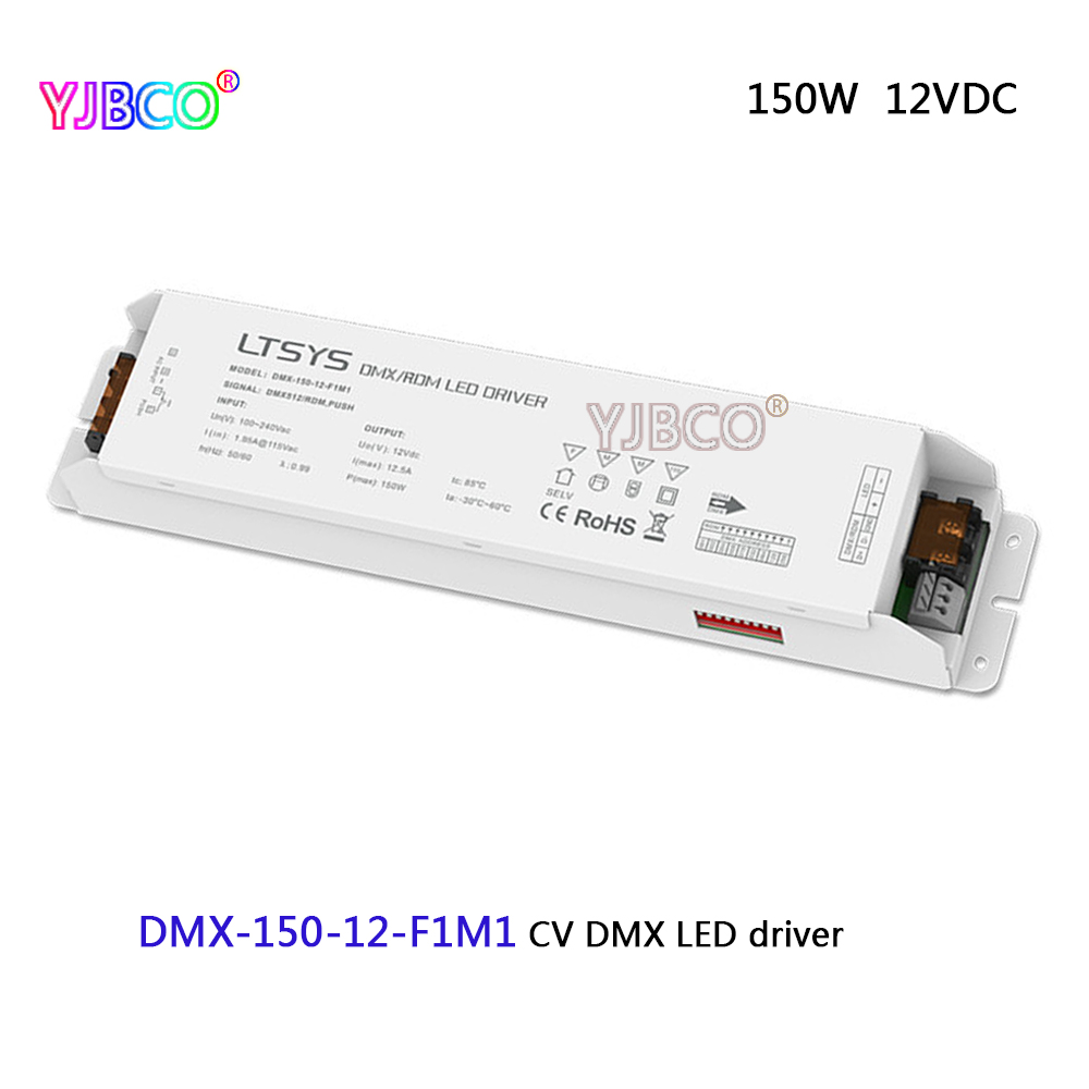 led dimming intelligent driver;DMX-150-12-F1M1;AC100-240V input 12V/12.5A/150W DMX512/RDM output CV DMX LED driver led dimming intelligent driver dmx 75 12 f1m1 ac100 240v input 12v 6 25a 75w dmx512 rdm output cv dmx led driver
