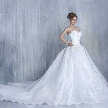 Vestidos De boda De lujo Vintage cola larga boda Vestido De encaje vestidos De novia De flores vestido De baile De princesa vestido De boda Casamento