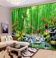 Blackout Printing Curtains bamboo running water Kids Room Window Curtain Ready Made Curtains For Home Hotel office Decor