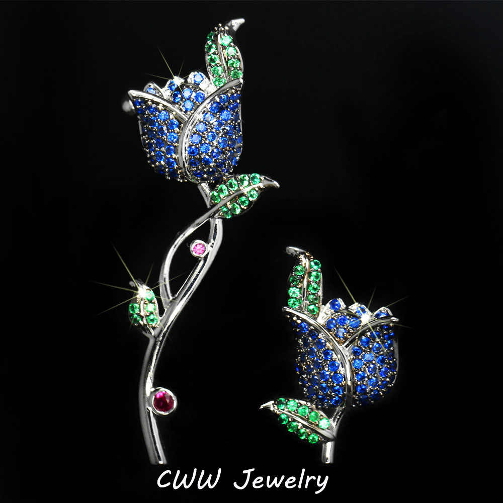 CWWZircons Unique Asymmetry Luxury Micro Paved Green Blue Rose Crystal Flower Earrings Fashion Gift Jewelry For Women CZ302