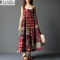 Plus Size ZANZEA Womens Sleeveless Off Shoulder Strappy Vestido 2017 Ladies Casual Beach Summer Floral Print