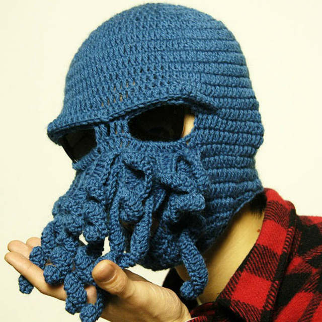 6af5b225eab Funny Squid Cap Men Women Winter Warm Knitted Octopus Beanie Hat Windproof  Face Mask Balaclava Party