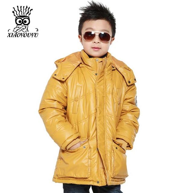 XIAOYOUYU Размер 130-165 Теплые Дети Ветрозащитный Капюшоном Воротник Мальчики Мода Верхняя Одежда Черный Популярный Стиль Весна Осень Зима