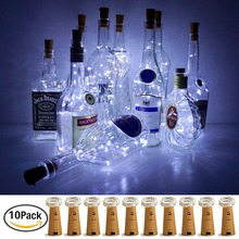 10pcs Indoor LED wine bottle lamp 6.7ft 20LEDs cork shape string light Cool White Halloween party wireless Battery