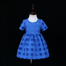 Model mom and toddler plaid organza clothes units household matching garments kids ladies navy costume mother daughter summer time costume