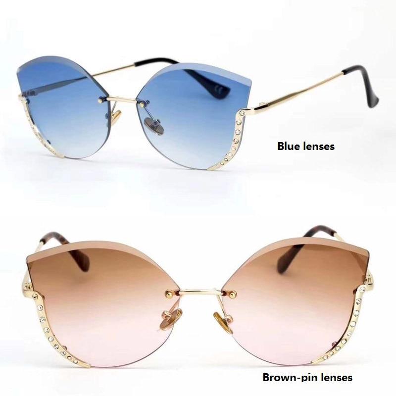 Sunglasses Rimless Diamonds Trendy Colorful Women New-Fashion UV400 Gradient With Acrylic