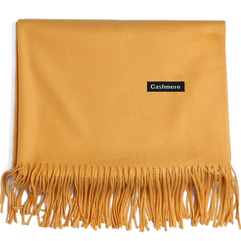 Cashmere Scarf Shawl Solid Plain Autumn Winter Wrap Warm High Quality Soft Hijab Thick Lady Women Pashmina Wool Luxury Yellow