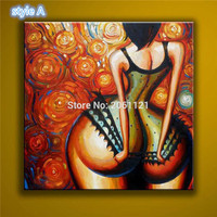 Hand Painted Large abstract Canvas Art Nude Girl Big ass hot sexy Naked Women Wall Decoration Oil Painting On Canvas Kardashian