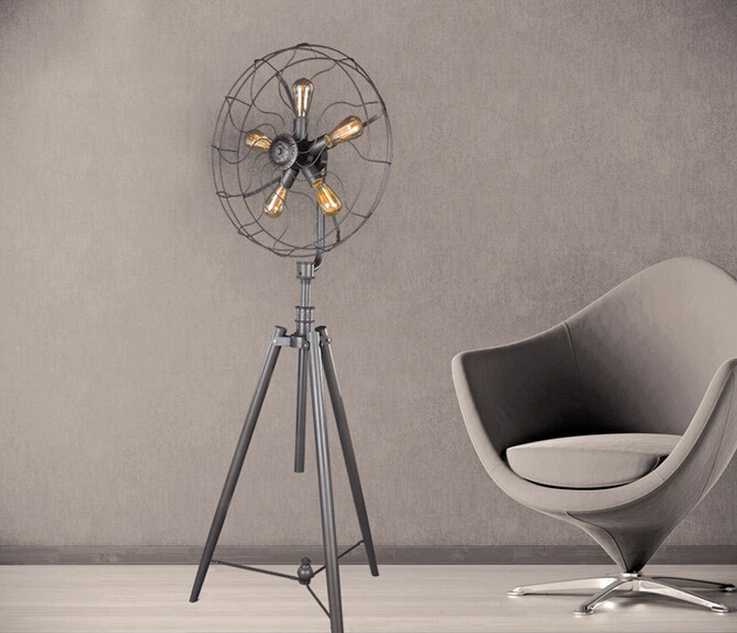 Staande lampen & retro fan neoklassieke ijzer lamp voor woonkamer in ...