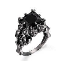 2017 Skull Gold Rhodium Plated Demon Princess Black Zircon Women S Wedding Ring Jewelry