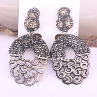 3Pair Nature Brown Hollow Shell Dangle Earrings Pave CZ Rhinestone Earring Design For Women