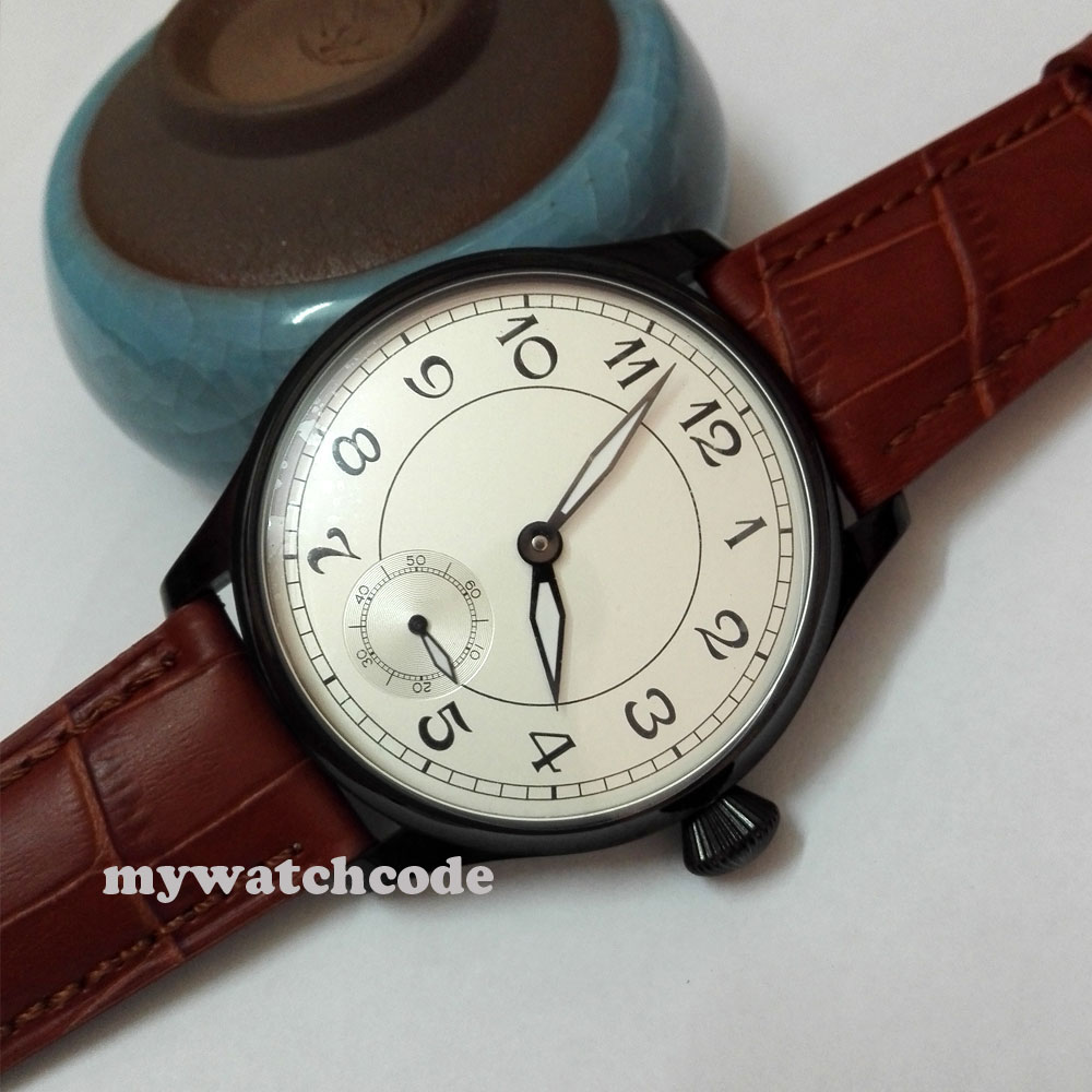 Classic 44mm parnis quadrante bianco PVD 6498 movimento carica manuale mens watch P288Classic 44mm parnis quadrante bianco PVD 6498 movimento carica manuale mens watch P288