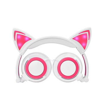 Kids LED Cat Ear Wired Cute Headphone Big Gaming Luminous Earphone Headset With Mic For iPhone Samsung Computer Phone Headfone