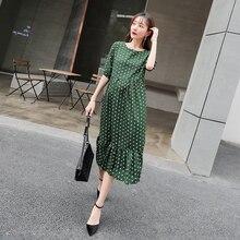 Модная свободная летняя шифоновая одежда в горошек с коротким рукавом для беременных; Лидер продаж; платье для мам; платья на период лактации для беременных; C837