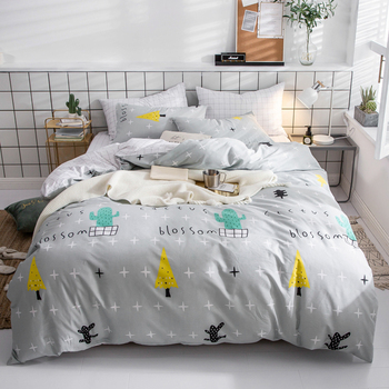 Papa&Mima Tree and cactus print bedding set Sanded Cotton Queen King size flat sheet pillowcases duvet cover sets