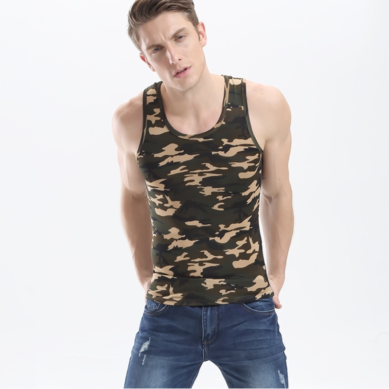 New Arrival High Quality Brand Tight Men Tank Tops Camouflage Print Vest Bodybuilding Mens Tank Top